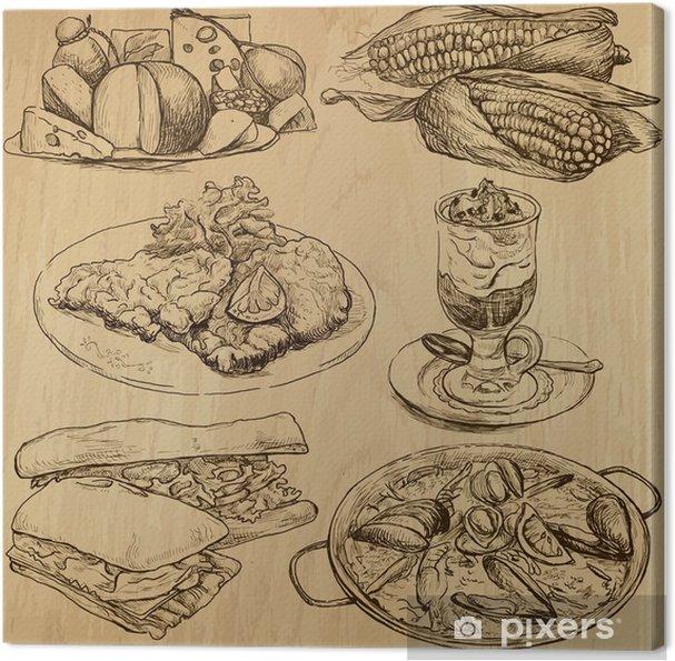 Obraz Na Platne Potraviny A Napoje Po Celem Svete Kresby Do