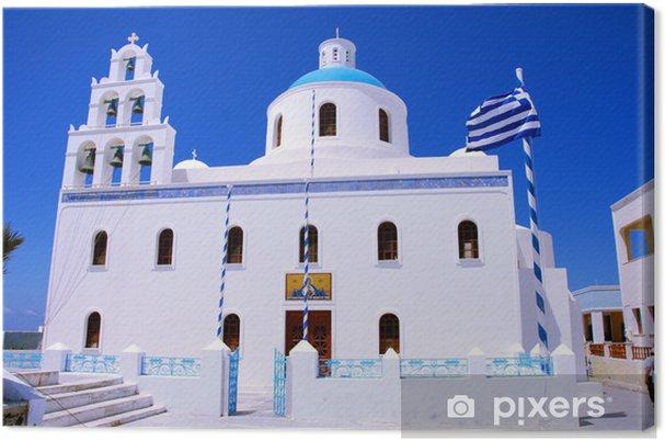Obraz na plátně Pravoslavná církev v Oia (Ostrov Santorini - Řecko) - Evropa