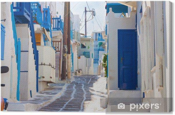Obraz na plátně Prázdný nabílené chůze dráha v Mykonos ostrov Řecka - Evropská města