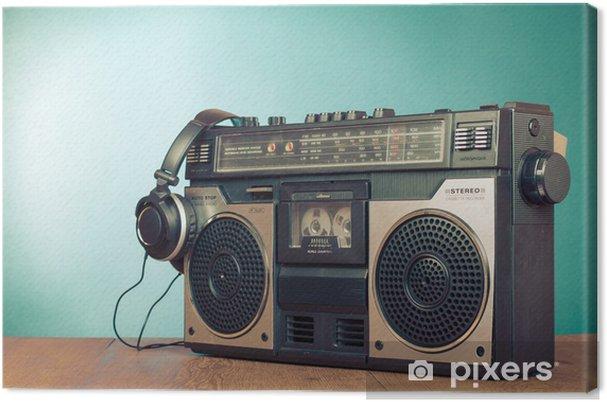 Obraz na plátně Retro ghetto blaster kazetový magnetofon přední mátově zelená - Hip hop