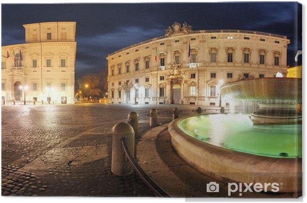 Obraz na plátně Řím - Palác Quirinale, panoramatický pohled v noci - Evropská města