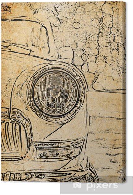 Obraz na plátně Ročník skica retro reflektory automobilů - Pozadí