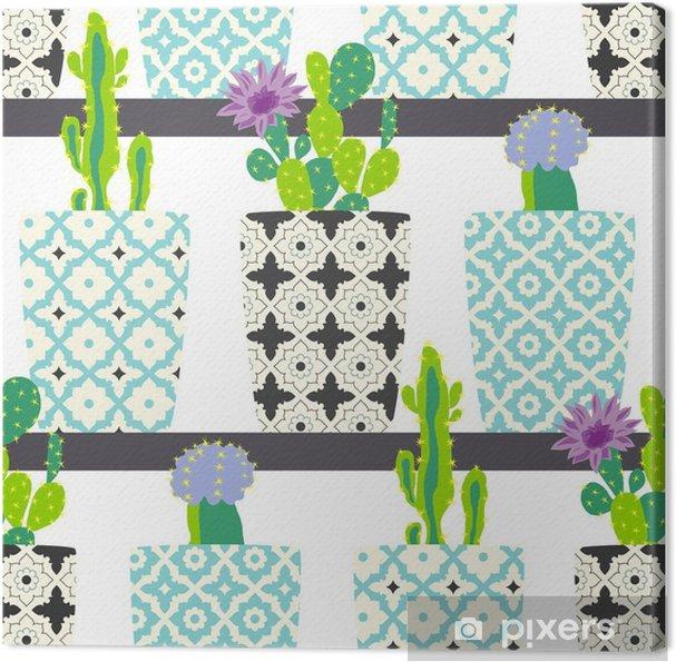 Obraz Na Platne Roztomily Kaktus Kvetiny V Okrasnych Hrncich Rucni