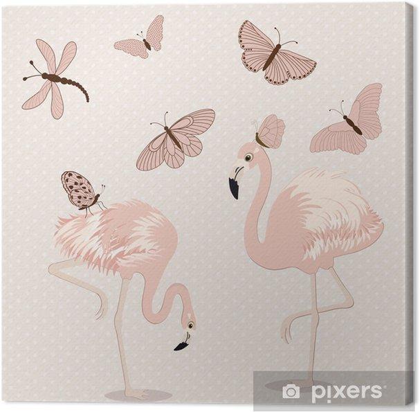 Obraz na plátně Roztomilý růžových plameňáků a motýli - Ostatní Ostatní