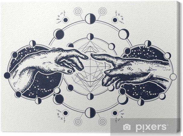 Obraz na plátně Ruce tetování renesance. bažina a adam, symbol spirituality, náboženství, spojení a interakce. michelangelo dotek boha. lidské ruce dotýkající se prsty tetování a design trička - Grafika