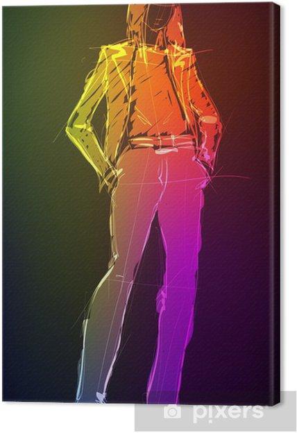 Obraz Na Platne Rucne Kreslena Modelka Z Neon Lehka Holka Pixers