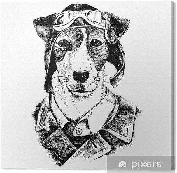Obraz na plátně Ručně malovaná oblečený pes letec - Zvířata