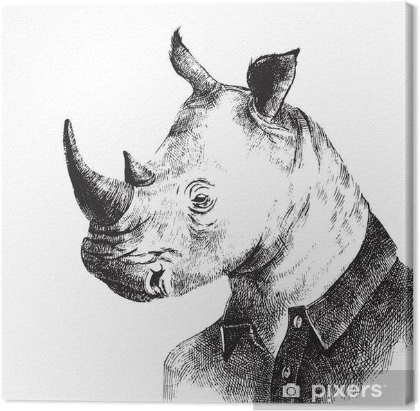 Obraz na plátně Ručně malovaná oblečený Rhino bederní stylu - Zvířata