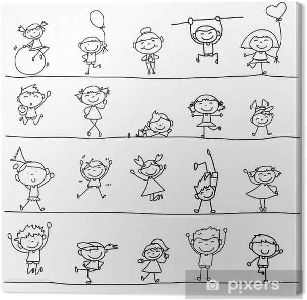 Obraz Na Platne Rucni Kresba Karikatura Stastne Deti Pixers