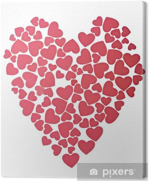 Obraz na plátně Různé malé srdce ve tvaru srdce jako symbol Valen - Mezinárodní svátky