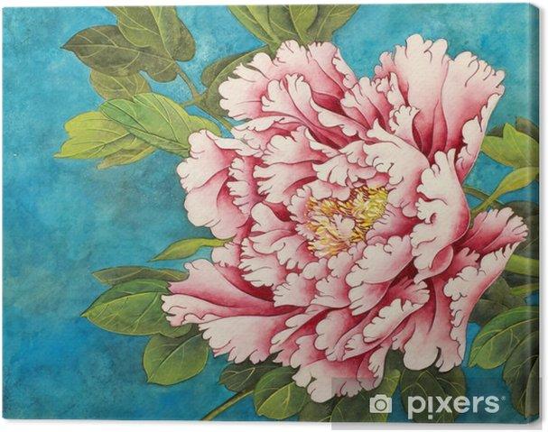 Obraz na plátně Růžová pivoňka na modrém pozadí - Rostliny a květiny