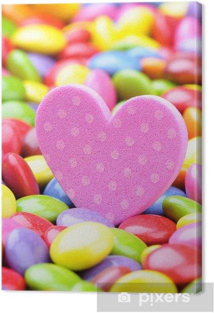 19d6d47cdb18 Obraz na plátně Růžové srdce a barevné čokoládové smarties • Pixers ...