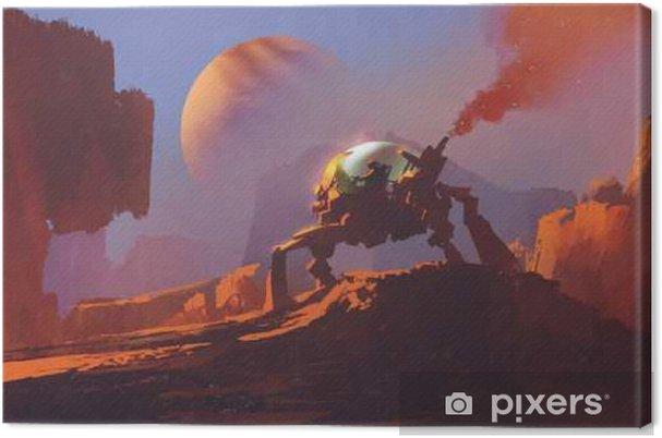 Obraz na plátně Sci-fi scéna muže v robotickém vozidle na červené planetě, kreslení malby - Věda