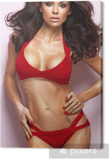 656120a11 Obraz na plátně Sexy žena na sobě červené spodní prádlo • Pixers ...