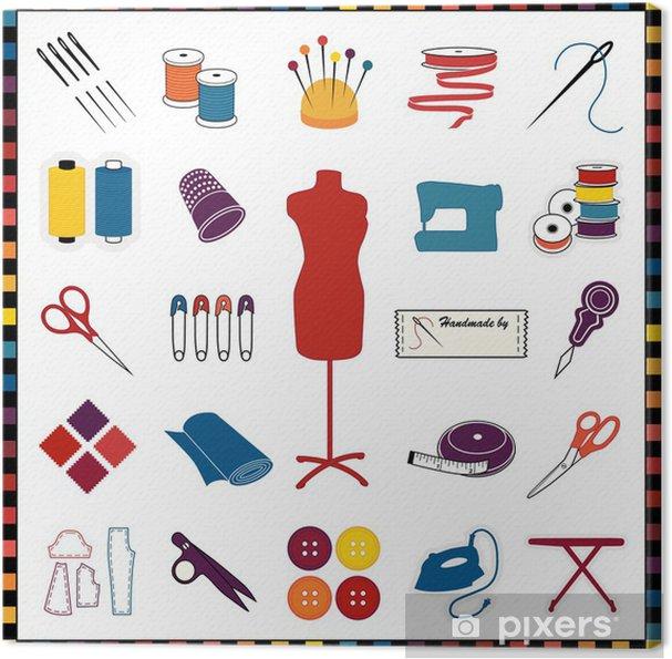 Obraz na plátně Šití, krejčovství ikony, multicolor, zkontrolujte vzor hranice - Zábava