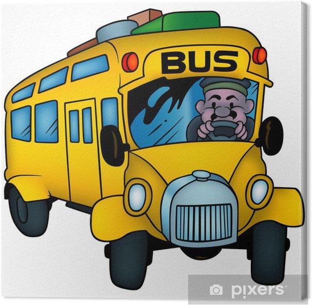 Obraz Na Platne Skolni Autobus Barevne Kreslene Ilustrace Pixers