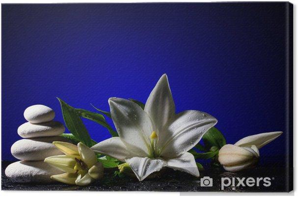 Obraz na plátně Svěžest lilie a kameny - Životní styl, péče o tělo a krása