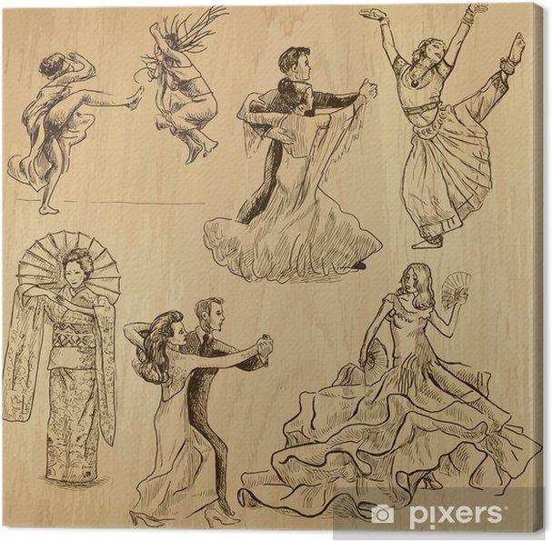 Obraz Na Platne Tancicich Lidi 1 Rucni Kresby Do Vektorove Sady