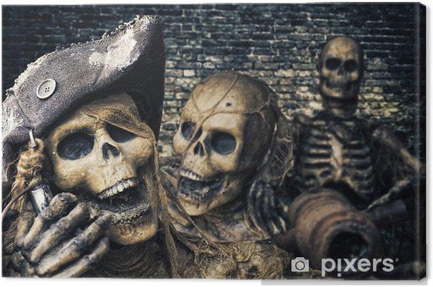Obraz na plátně Tři Skeleton Piráti Portrét - Značky a symboly
