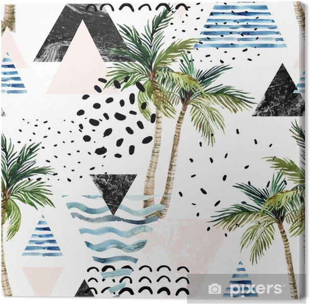 Obraz na plátně Umění ilustrace s palmou, doodle, mramor, grunge textury, geometrické tvary - Rostliny a květiny