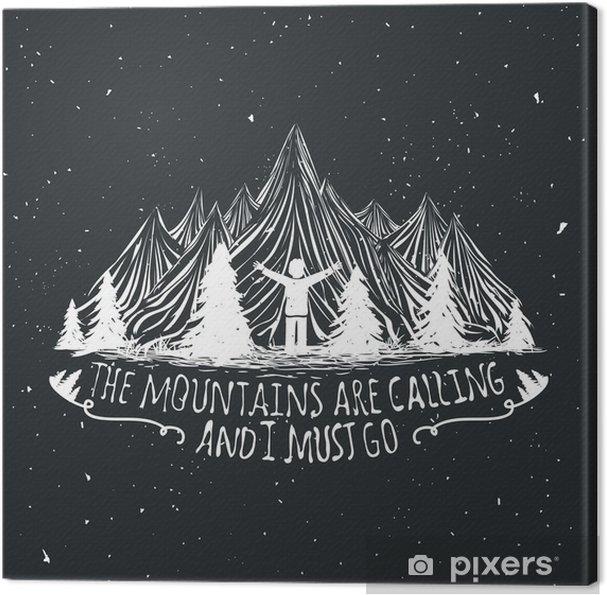 Obraz na plátně Vektor divočina citát plakát s lidskou siluetu, hory a lesy - Krajiny