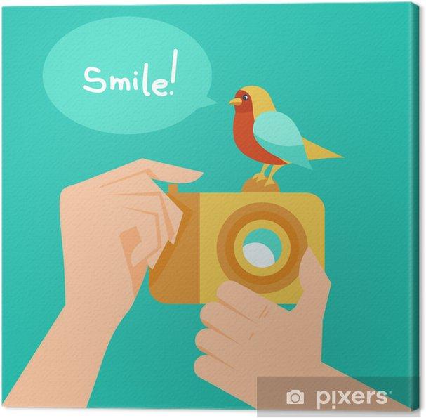 Obraz na plátně Vektorové digitální fotoaparát a karikatura pták - Témata