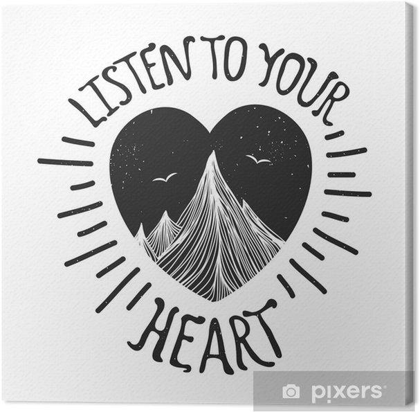 Obraz na plátně Vektorové ilustrace s horami uvnitř srdce - Krajiny