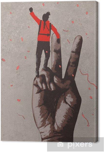 Obraz na plátně Velká ruka v znamení vítězství a muž s rukama zdviženou, kreslení malby - Životní styl