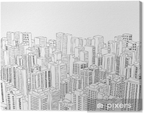 Obraz na plátně Velký černý a bílý městskou krajinu s budovami - Soukromé budovy