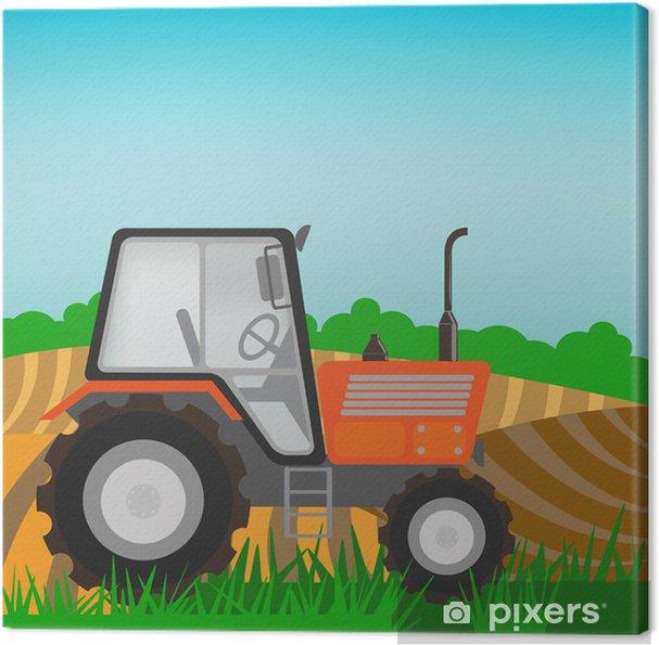 Obraz na plátně Venkovské krajiny s oranžovým traktorem - Na cestě