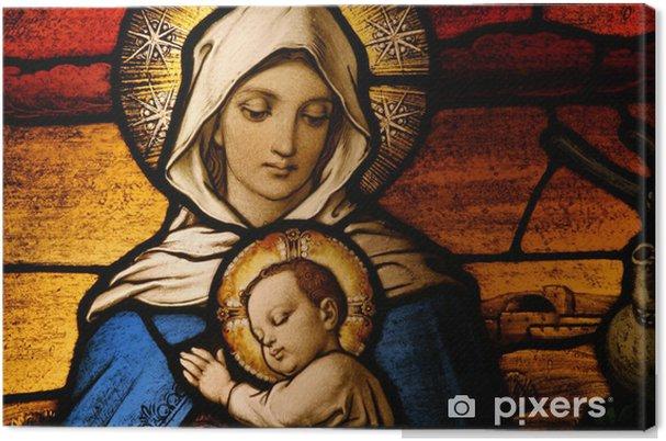 Obraz na plátně Vitráže znázorňující Pannu Marii děťátkem - Svatá Rodina