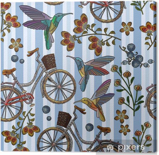 Obraz na plátně Vyšívací jízdní kolo s košem bzučící pták a květiny bezešvé  vzor. módní d1e88cd940