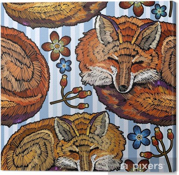 Obraz na plátně Vyšívací spací liška a květiny bezešvé vzor. módní šablona  pro návrh oblečení f7b0d37cd6