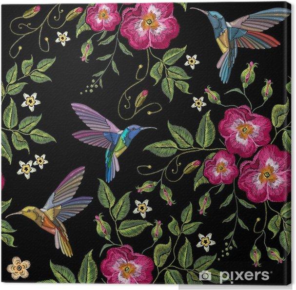 Obraz na plátně Výšivka humming pták a divoké růže 48ad036444
