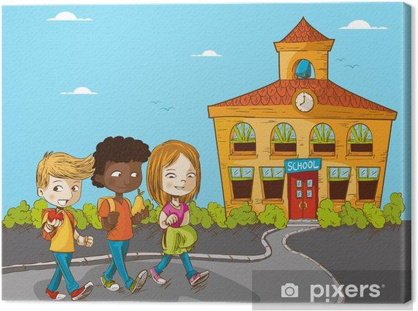 Obraz Na Platne Vzdelani Zpatky Do Skoly Kreslenych Deti Pixers