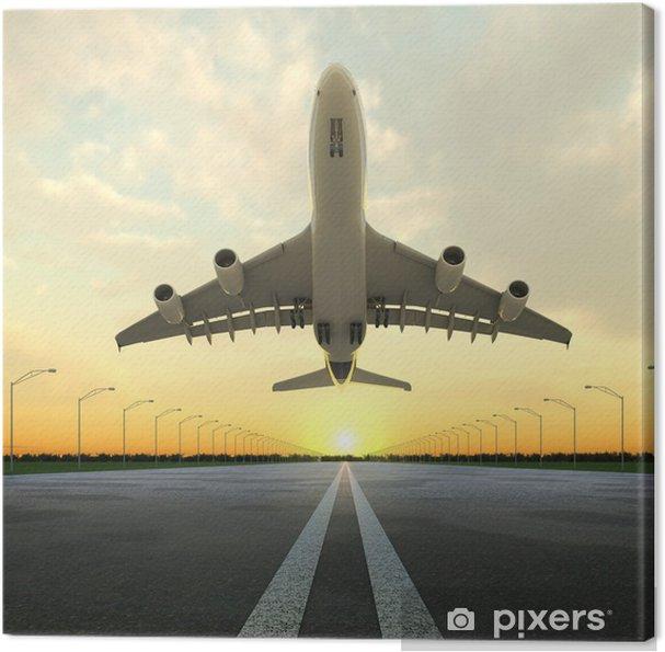Obraz na plátně Vzletová letadlo na letišti při západu slunce - Témata