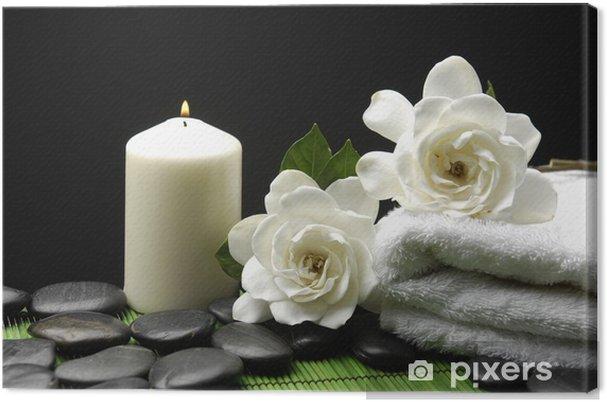 Obraz na plátně White Gardenia a kameny s ručníkem a svíčky na zelené mat - Osud