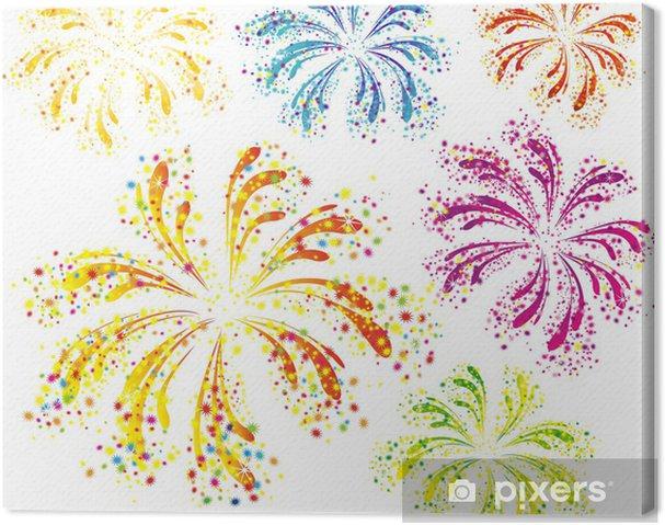 Obraz na plátně Zářivě barevné ohňostroje izolovaných na bílém pozadí - Mezinárodní svátky