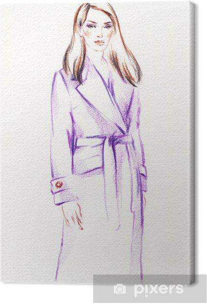 Obraz na plátně Žena v srsti. Ručně malované módní ilustrace - Umění a tvorba
