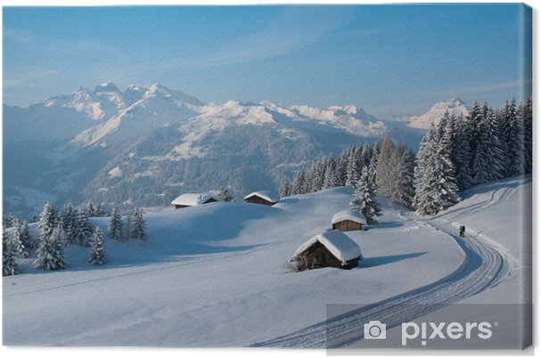 Obraz na plátně Zimní turistika v Alpách - Zima
