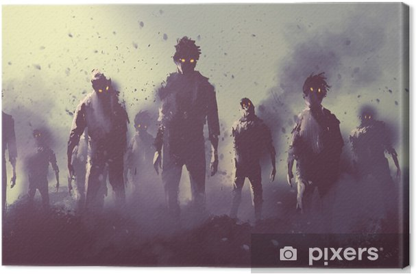 Obraz na plátně Zombie dav chůzi v noci, Halloween koncept, ilustrace malba - Koníčky a volný čas