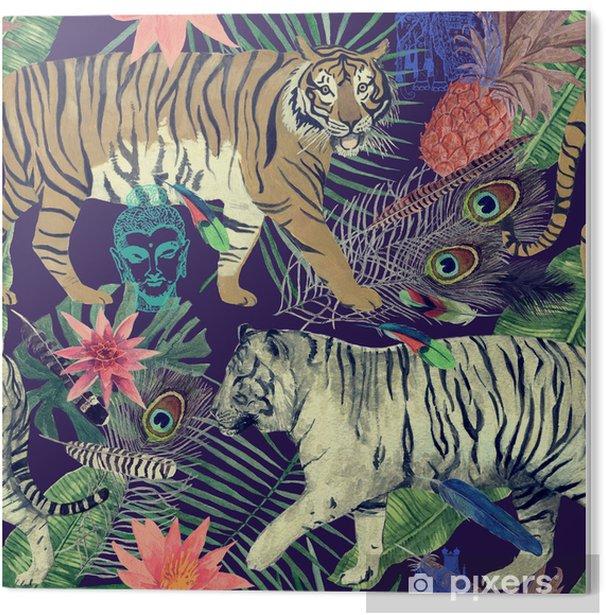 Obraz na Pleksi Bezszwowe akwarela wzór z tygrysami, liści, piór. - Zasoby graficzne