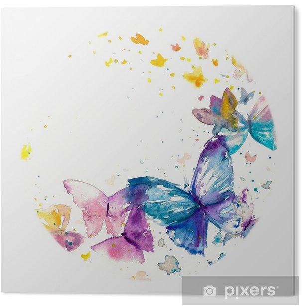 Obraz na Pleksi Piękny motyl akwarela na białym tle papieru. - Zwierzęta