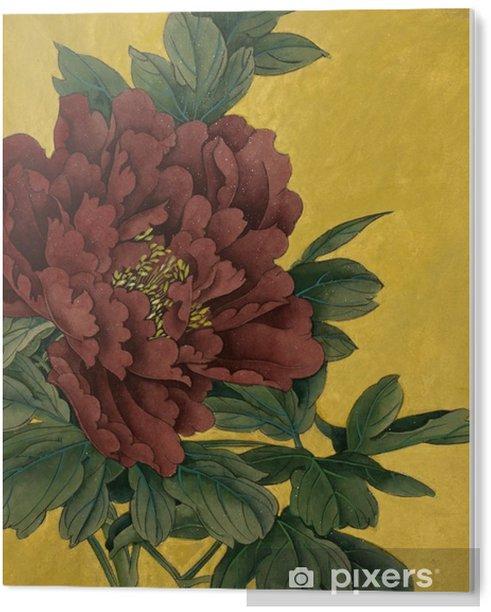 Obraz na Pleksi Piwonia kwiaty na złotym tle - Rośliny i kwiaty