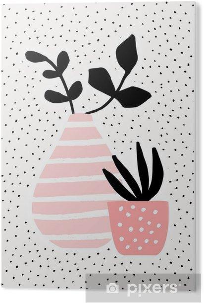 Obraz na Pleksi Różowy wazon i pot z roślinami - Rośliny i kwiaty