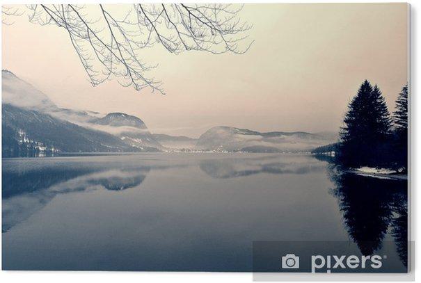 Obraz na Plexiskle Zasněžené zimní krajiny na jezeře v černé a bílé. Monochromatický obraz filtrován retro, vintage stylu s měkkým zaměřením, červeným filtrem a některé hluku; nostalgické pojetí zimy. Jezero Bohinj, Slovinsko. - Krajiny