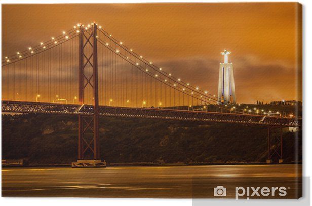 Obraz na płótnie 25 de Abril most na rzece Tag i duże Chrystus w Lizbonie - Tematy