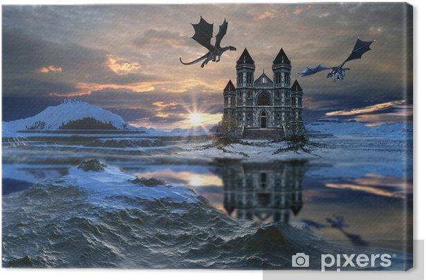 Obraz na płótnie 3D utworzone i świadczonych fantasy krajobraz ze smokami i zamku - Budynki i architektura