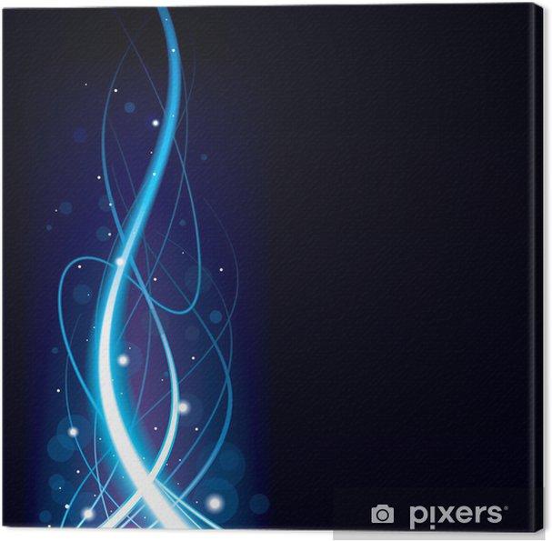 Obraz na płótnie Abstrakcyjna niebieskie świecące tło wave. - Style