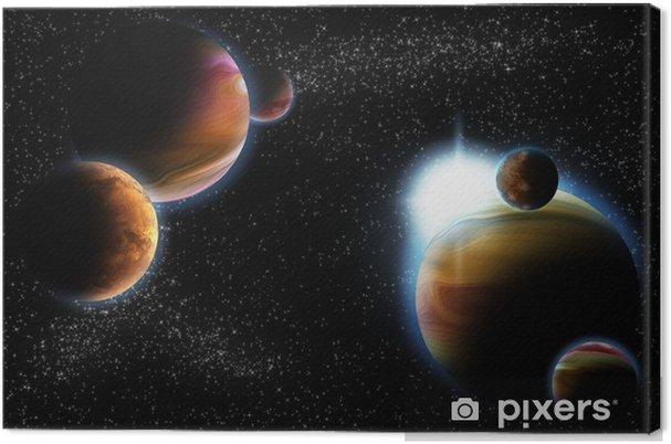 Obraz na płótnie Abstrakcyjna planety z flary słońca w deep space - gwiazda Mgławica ponownie - Przestrzeń kosmiczna